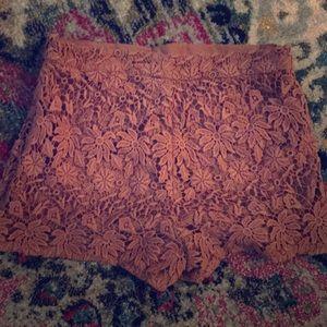 Floral crochet blush mini short. Mid rise